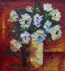 Floral Still Life-white-on-red