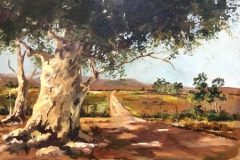 Farm Road Intersection in Malmesbury, Cape. SA .a 760x620mm 16 oil