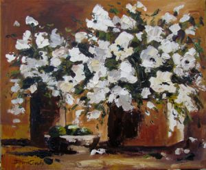 White floral in two vases and still life