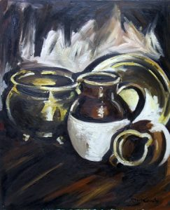 Still life with jugs and brass