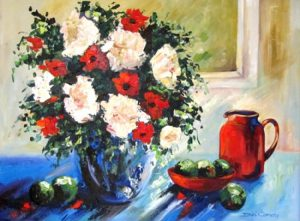 Red and white floral still life on blue with red jug