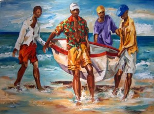 Fishermen from Mozambique bringing in their boat