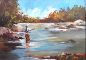 Fly Fishing watching_the_line_690x510mm