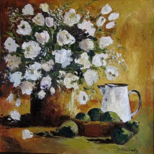 White Floral with White Enamel Jug.1000x1000mm