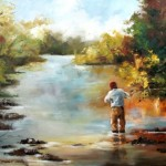 Fly Fishing- Showers of Light over the Water. 760x610mm. 2013 oils