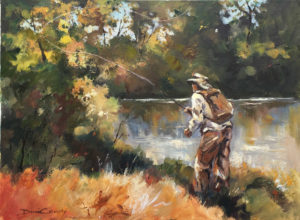 Fly Fishing in the Shadows - 640 x 490mm